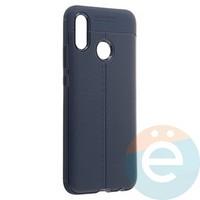 Накладка силиконовая 360 с кожаными вставками на Huawei P20 Lite синяя
