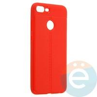 Накладка силиконовая 360 с кожаными вставками на Huawei Honor 9 Lite красная