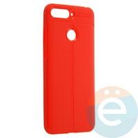 Накладка силиконовая 360 с кожаными вставками на Huawei Y6 Prime красная