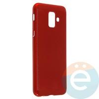 Накладка пластиковая перфорированная на Samsung Galaxy A6 (2018) красная