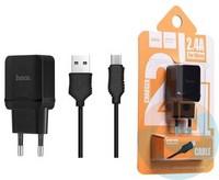 Сетевой адаптер HOCO C22A ONE USB Charger 2.4A + кабель Micro usb чёрный