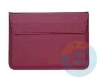 Конверт для ноутбука (13 Дюймов) кожаный на магните красный