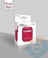 Чехол силиконовый для наушников Apple AirPods ультра-тонкий малиновый