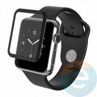 Защитное стекло 5D с полной проклейкой на Apple Watch 38mm чёрное