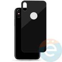 Защитное стекло 5D с полной проклейкой на Apple iPhone X задняя часть чёрное