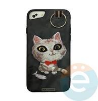 Накладка кожанная XN для iPhone 6/6s/7/8 Plus кот чёрная