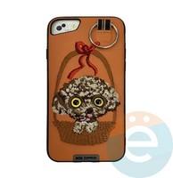Накладка кожанная XN для iPhone 6/6s/7/8 Plus пудель оранжевая