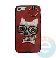 Накладка кожанная XN для iPhone 6/6s/7/8 Plus чихуахуа красная