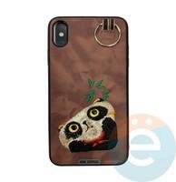 Накладка кожанная XN для iPhone X/Xs панда коричневая