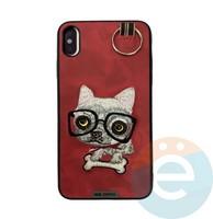 Накладка кожанная XN для iPhone X/Xs чихуахуа красная