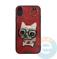 Накладка кожанная XN для iPhone Xr чихуахуа красная
