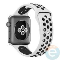 Силиконовый ремешок Nike для Apple Watch 38 mm бело-чёрный