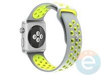 Силиконовый ремешок Nike для Apple Watch 38 mm серо-зелёный