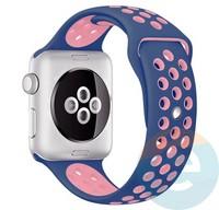 Силиконовый ремешок Nike для Apple Watch 38 mm сине-розовый2