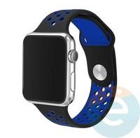 Силиконовый ремешок Nike для Apple Watch 38 mm сине-чёрный