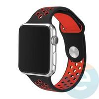 Силиконовый ремешок Nike для Apple Watch 38 mm чёрно-красный