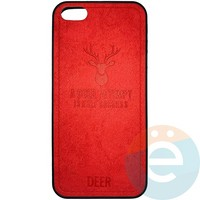 Накладка комбинированная DEER для iPhone 5/5s/SE красная