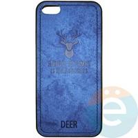 Накладка комбинированная DEER для iPhone 5/5s/SE синяя