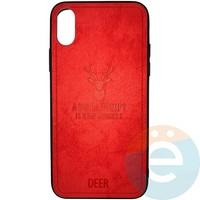 Накладка комбинированная DEER для iPhone X/Xs красная