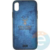 Накладка комбинированная DEER для iPhone X/Xs синяя