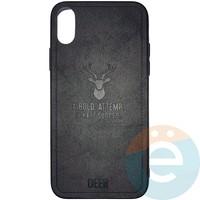 Накладка комбинированная DEER для iPhone X/Xs чёрная