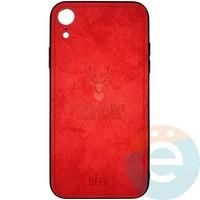 Накладка комбинированная DEER для iPhone XR красная