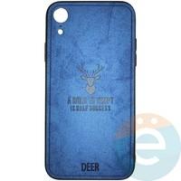 Накладка комбинированная DEER для iPhone XR синяя