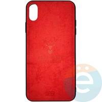 Накладка комбинированная DEER для iPhone Xs Max красная