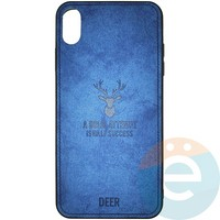 Накладка комбинированная DEER для iPhone Xs Max синяя