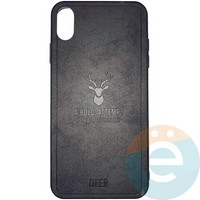Накладка комбинированная DEER для iPhone Xs Max чёрная