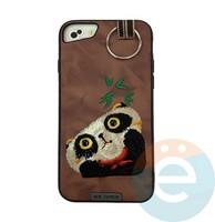 Накладка кожанная XN для iPhone 6/6s/7/8 Plus панда коричневая