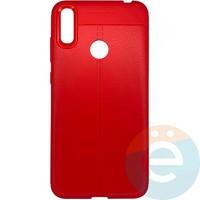Накладка силиконовая 360 с кожаными вставками на Huawei Y7 2019 красная