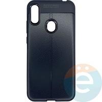 Накладка силиконовая 360 с кожаными вставками на Huawei Y6 2019/Honor 8A чёрная