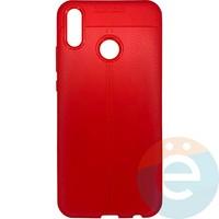 Накладка силиконовая 360 с кожаными вставками на Huawei Y9 2019 красная
