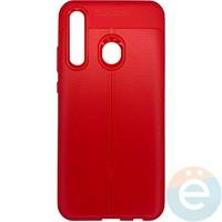 Накладка силиконовая 360 с кожаными вставками на Huawei Honor 10i красная