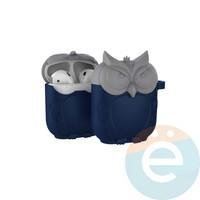 Чехол силиконовый для наушников Apple AirPods Сова серо-синий