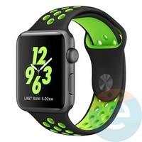 Силиконовый ремешок Nike для Apple Watch 38/40 mm чёрно-зелёный 9