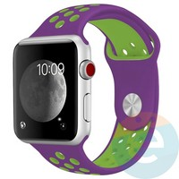 Силиконовый ремешок Nike для Apple Watch 38/40 mm фиолетово-салатовый 11