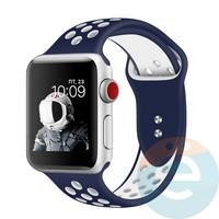 Силиконовый ремешок Nike для Apple Watch 38/40 mm сине-белый 6
