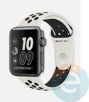 Силиконовый ремешок Nike для Apple Watch 38/40 mm бежево-чёрный 15