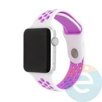 Силиконовый ремешок Nike для Apple Watch 38/40 mm бело-сиреневый 22