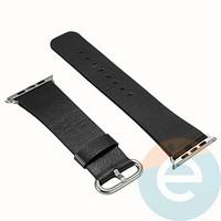 Кожаный ремешок для Apple Watch 42/44 mm чёрный