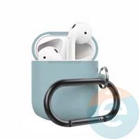 Чехол силиконовый для наушников Apple AirPods 2 с карабином бирюзовый