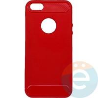 Накладка силиконовая Carbon 360 на Apple IPhone 5/5s/SE красная