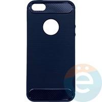 Накладка силиконовая Carbon 360 на Apple IPhone 5/5s/SE синяя