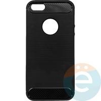 Накладка силиконовая Carbon 360 на Apple IPhone 5/5s/SE чёрная