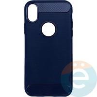 Накладка силиконовая Carbon 360 на Apple IPhone X/Xs синяя