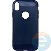 Накладка силиконовая Carbon 360 на Apple IPhone Xr синяя