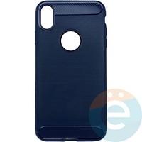 Накладка силиконовая Carbon 360 на Apple IPhone Xs Max синяя