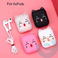 Чехол силиконовый для наушников Apple AirPods аниме кошка белый 11